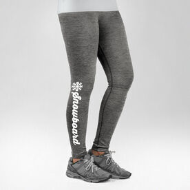 Snowboarding Performance Tights Snowboard Script with Snowflake
