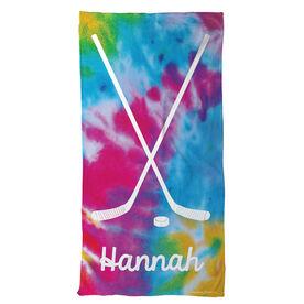 Hockey Beach Towel Personalized Tie Dye Pattern with Sticks
