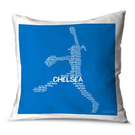 Softball Throw Pillow Personalized Softball Words Pitcher