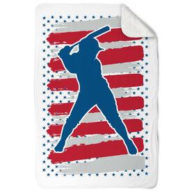 Softball Sherpa Fleece Blanket USA Batter