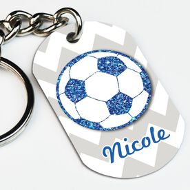 Soccer Printed Dog Tag Keychain Personalized Glitter Soccer Ball