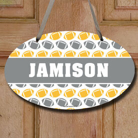Football Oval Sign Personalized Football Pattern