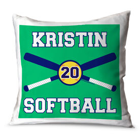 Softball Throw Pillow Personalized Softball Bats And Ball