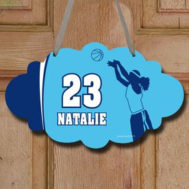 Basketball Cloud Room Sign Personalized Basketball Girl with Big Number