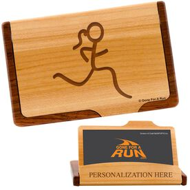 Runner Girl Figure Maple Business Card/Credit Card Holder