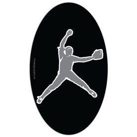 Softball Oval Car Magnet Pitcher