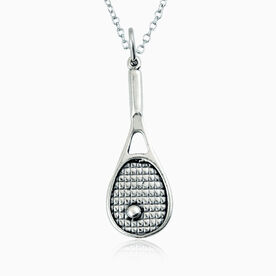 Sterling Silver Necklace - Tennis Racket