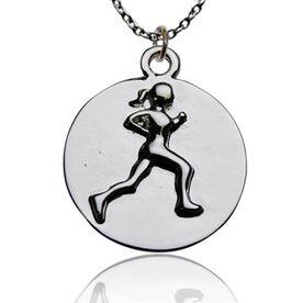 Running Girl Round Pendant Necklace
