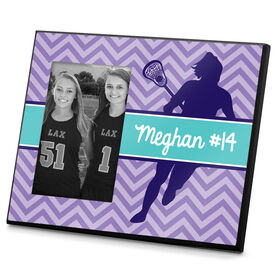 Girls Lacrosse Photo Frame Personalized Girl Lacrosse Player Chevron
