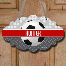 Soccer Cloud Sign Personalized 2 Tier Patterns with Soccer Ball
