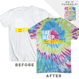 DIY Softball Eat Sleep Softball - White Tee Ready for Tie-Dye