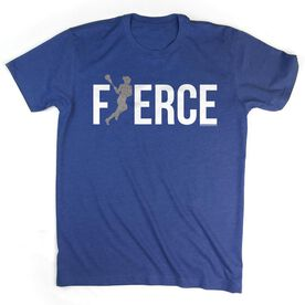 Lacrosse Tshirt Short Sleeve Fierce Lacrosse Girl with Silver Glitter