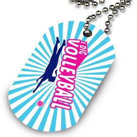 Volleyball Printed Dog Tag Necklace I Dig Volleyball