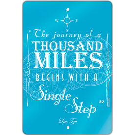 "Running 18"" X 12"" Aluminum Room Sign The Journey Of A Thousand Miles"