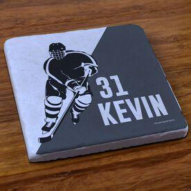 Hockey Stone Coaster Personalized Hockey Player Silhouette