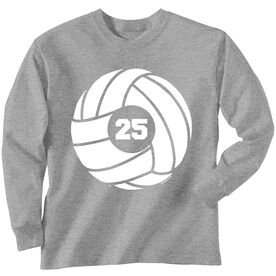 Volleyball T-Shirt Long Sleeve Volleyball With Number