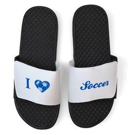 Soccer White Slide Sandals - I Heart Soccer