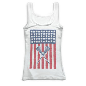 Girls Lacrosse Vintage Fitted Tank Top - USA Lax Girl