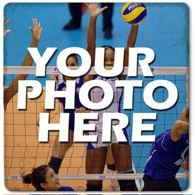 "Custom Volleyball Photo - 4""x4"" - Marble Stone Coaster"