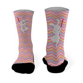 Softball Printed Mid Calf Socks Softball Easter Bunny