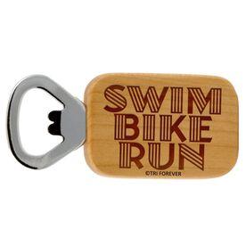 Swim Bike Run Words Maple Bottle Opener