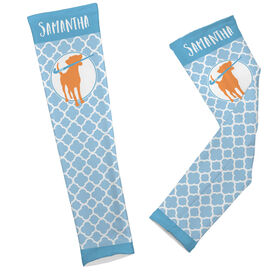 Field Hockey Printed Arm Sleeves Personalized Fetch the Field Hockey Dog Quatrefoil Pattern