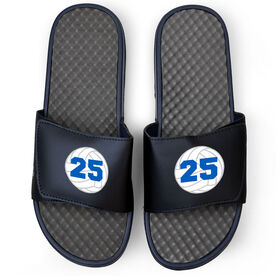 Volleyball Navy Slide Sandals - Volleyball with Number