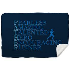 Running Sherpa Fleece Blanket - Father Words