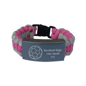 Soccer Paracord Engraved Bracelet - 3 Lines/Pink