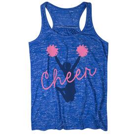 Cheerleading Flowy Racerback Tank Top - Cheer Girl Silhouette