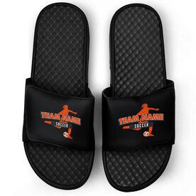 Soccer Black Slide Sandals - Your Girls Team Name