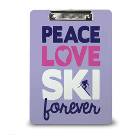 Skiing Custom Clipboard Peace Love Ski Forever