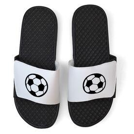 Soccer White Slide Sandals - Soccer Ball