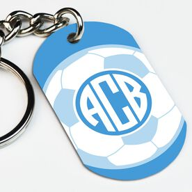 Soccer Printed Dog Tag Keychain Monogrammed Soccer Ball