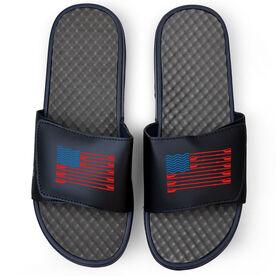 Crew Navy Slide Sandals - American Flag