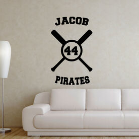 Baseball Personalized Crossed Bats Removable ChalkTalkGraphix Wall Decal