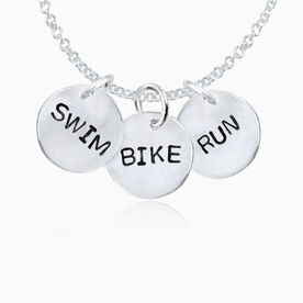 Sterling Silver Hand Stamped Swim Bike Run Three Charm Cluster Pendant Necklace