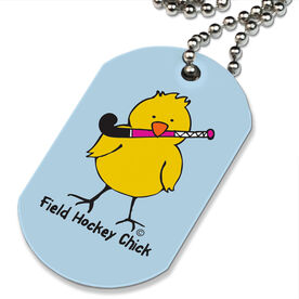 Field Hockey Chick Printed Dog Tag Necklace