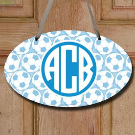 Soccer Oval Sign Monogram with Soccer Ball Pattern
