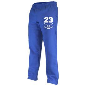 Hockey Fleece Sweatpants Hockey Crossed Sticks with Number