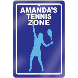 """Tennis Aluminum Room Sign Personalized Tennis Zone Girl (18"""" X 12"""")"""