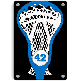 Guys Lacrosse Metal Wall Art Panel - Personalized Guys Stick Head
