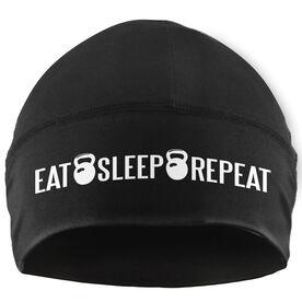 Beanie Performance Hat - Eat Sleep Repeat (White Lettering)