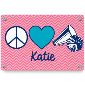 Cheerleading Metal Wall Art Panel - Personalized Peace Love Cheer Chevron