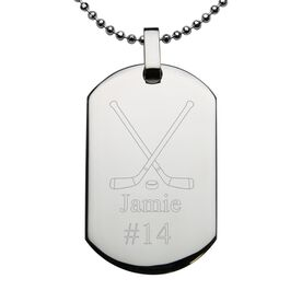 Hockey Engraved Stainless Steel Dog Tag Necklace