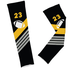 Football Printed Arm Sleeves Personalized Football with Stripes