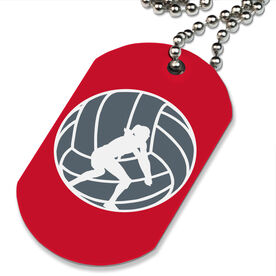 Volleyball Printed Dog Tag Necklace Volleyball Player Silhouette