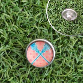 Lacrosse Crossed Sticks Peach Chevron SportSNAPS Charm