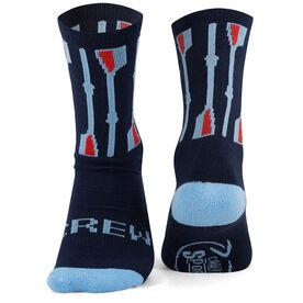Crew Woven Mid Calf Socks - Vertical Oars (Navy/Light Blue/Red)