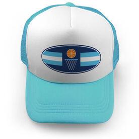 Basketball Trucker Hat - Simple Stripe Oval